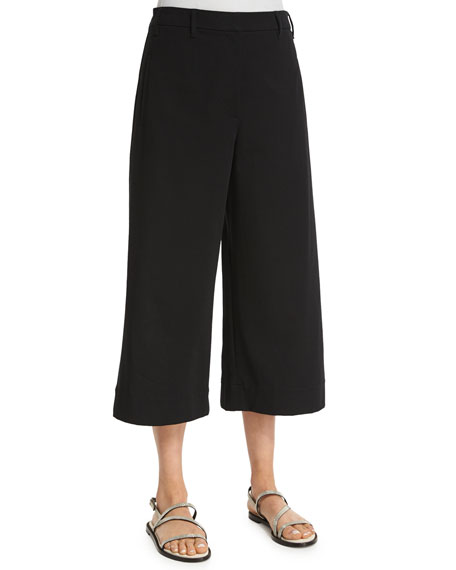 Brunello Cucinelli Sailor Wide-Leg Culotte Pants, Black