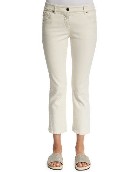 Brunello Cucinelli Flare-Leg Cropped Jeans, Natural