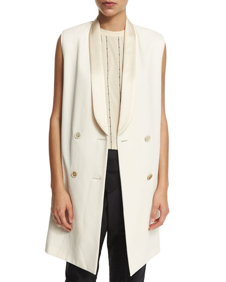 Brunello Cucinelli Double-Breasted Long Vest, Butter