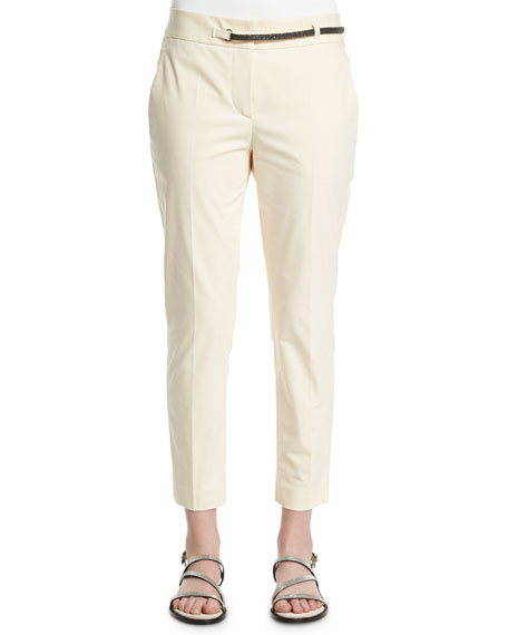 Brunello Cucinelli Straight-Leg Cropped Pants, Butter