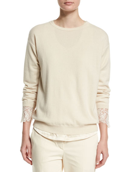 Brunello Cucinelli Cashmere & Lace Pullover Sweater, Butter
