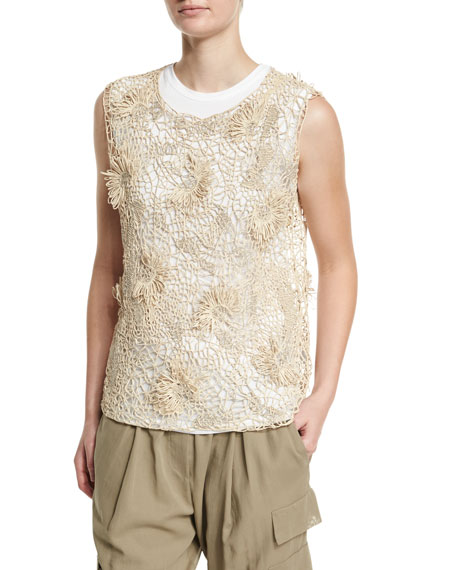 Brunello Cucinelli Sleeveless Rubberized Floral Top, Canvas