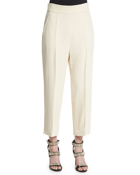 Brunello Cucinelli High-Waist Culotte Pants, Butter