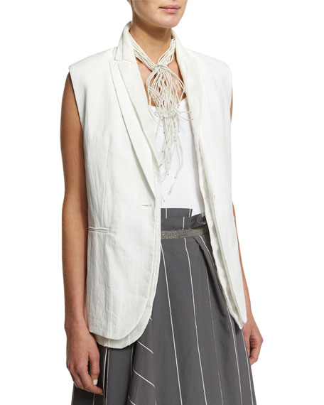Brunello Cucinelli One-Button Paillette Vest, White