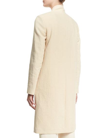 V-Neck Mid-Length Jacket, Butter