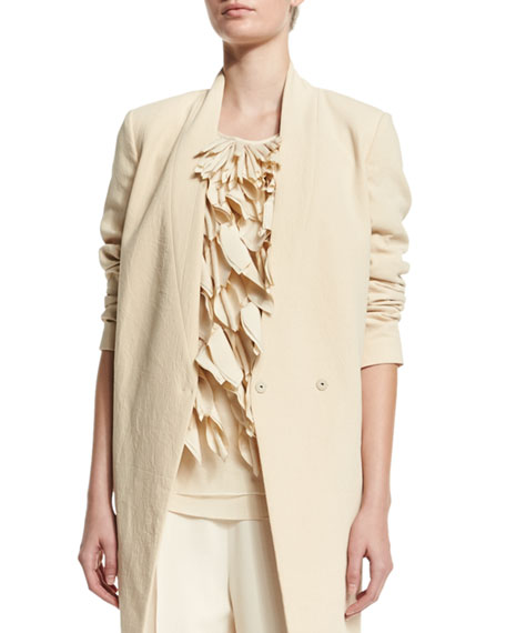 Brunello Cucinelli V-Neck Mid-Length Jacket, Round-Neck