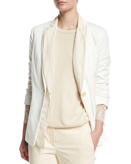 Brunello Cucinelli Double-Layer Jacket W/Paillettes, Vanilla
