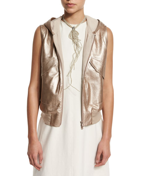 Metallic-Leather Hooded Utility Vest, Rose Gold