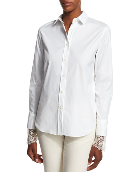 Brunello CucinelliPoplin Blouse w/Scalloped Lace Cuffs, White