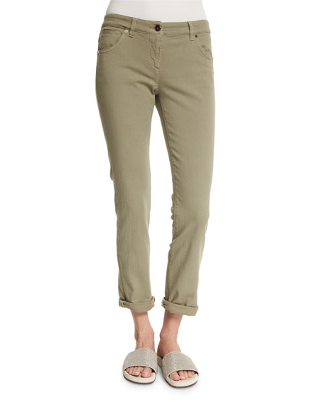 Brunello Cucinelli Low-Rise Skinny Jeans, Green Tea