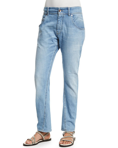 Brunello Cucinelli Distressed Boyfriend Jeans, Light Denim