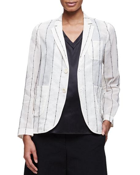 Brunello Cucinelli Paillette-Striped Snap-Front Blazer, Vanilla