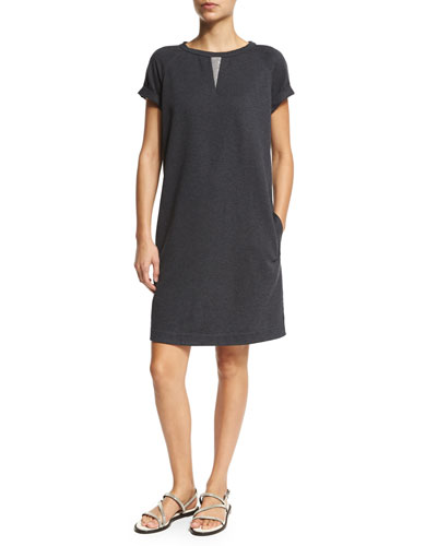 Rolled-Sleeve Jewel-Neck Shift Dress, Volcano