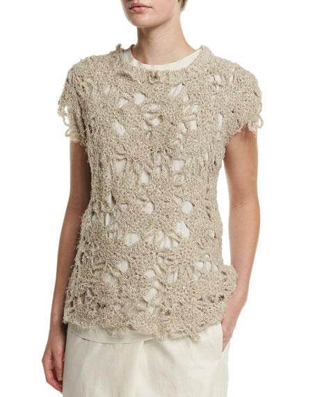 Brunello Cucinelli Cap-Sleeve Crochet Top, Twine