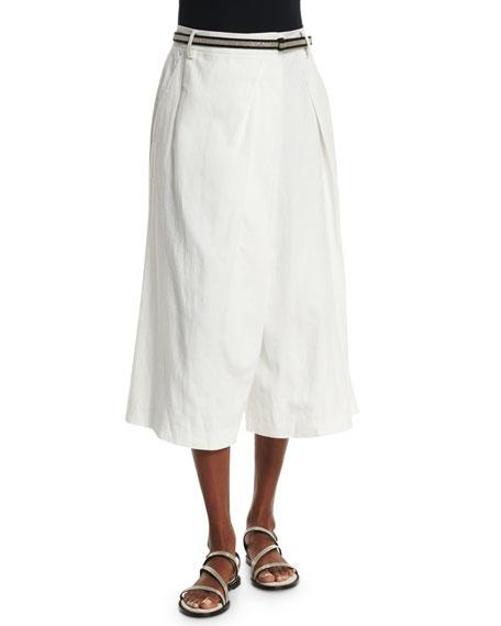 Brunello Cucinelli Wide-Leg Fold-Over Culottes, White