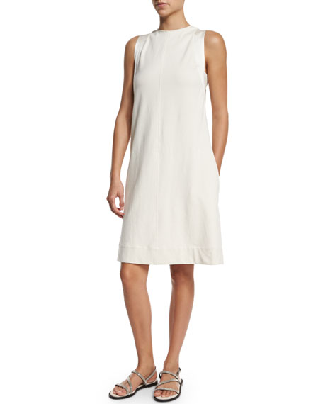 Brunello Cucinelli Felpa A-Line Shift Dress, Butter