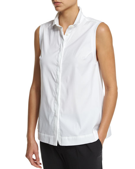 Brunello Cucinelli Sleeveless A-Line Blouse W/Monili Trim, White
