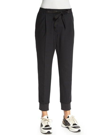 Brunello Cucinelli Pleated-Front Belted Jogger Pants, Onyx