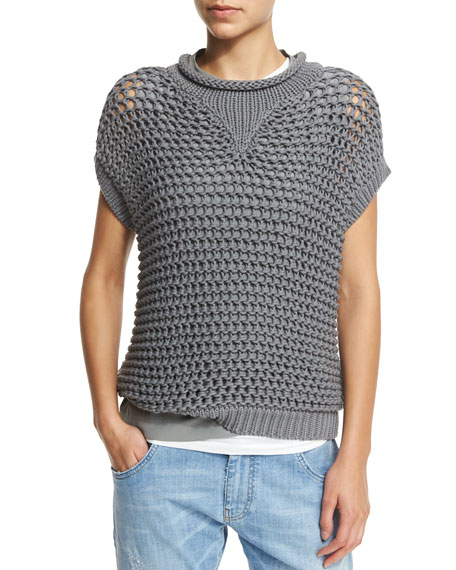 Brunello Cucinelli Short-Sleeve Crochet Pullover Top, Slate