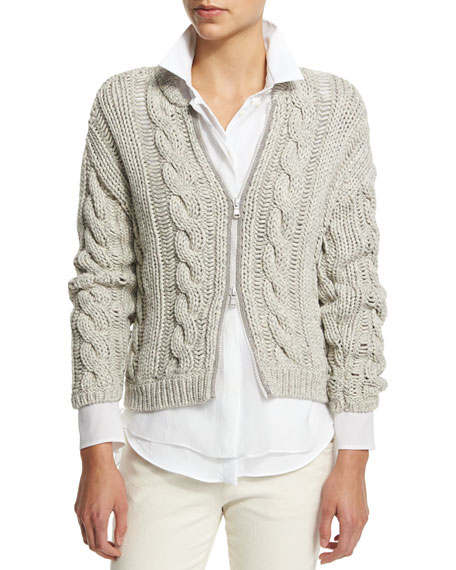 Brunello Cucinelli Long-Sleeve Zip-Front Cardigan, Haze