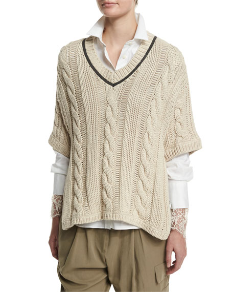 Brunello Cucinelli Cable-Knit Pullover Sweater, Butter Melange