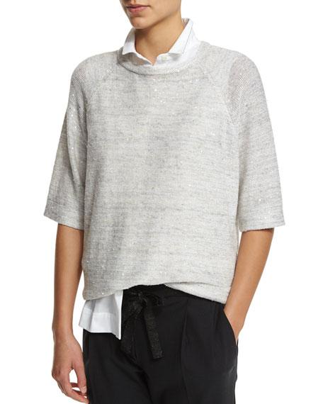 Brunello Cucinelli 3/4-Sleeve Paillettes Pullover Top, Truffle