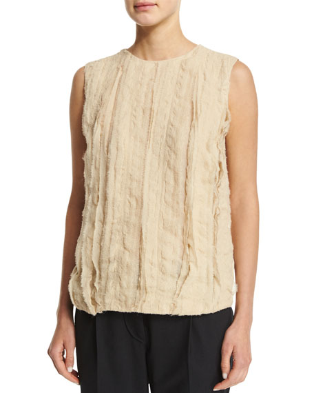 Brunello Cucinelli Jewel-Neck Textured-Front Tank, Canvas