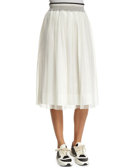 Brunello Cucinelli High-Waist A-Line Skirt, White