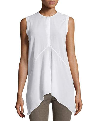 Sleeveless Henley Trapeze Top, White