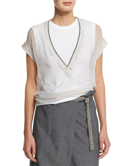 Brunello Cucinelli Monili-Trim V-Neck Sheer Top W/Tank, Necklace