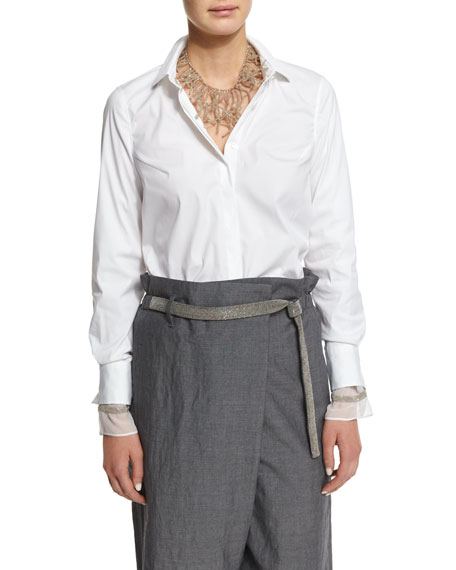 Brunello Cucinelli Long-Sleeve Button-Front Blouse, White