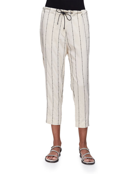 Brunello Cucinelli Paillette-Striped Cropped Pants, Vanilla