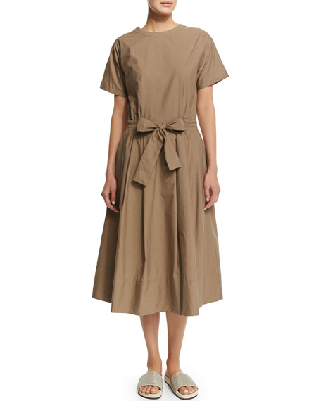 Brunello Cucinelli Short-Sleeve Belted Shirtdress, Farro
