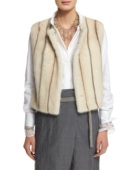 Brunello Cucinelli Sewn-In Striped Mink Fur Vest, Long-Sleeve