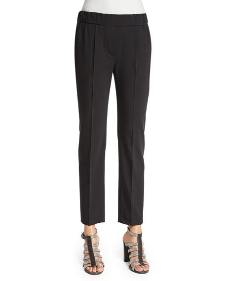 Brunello Cucinelli Slim-Leg Ankle Pants, Black