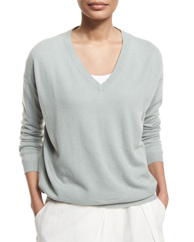 Monili-Trim V-Neck Cashmere Pullover Sweater, Mint