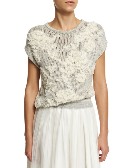 Brunello Cucinelli Floral-Knit Short-Sleeve Sweater, Haze