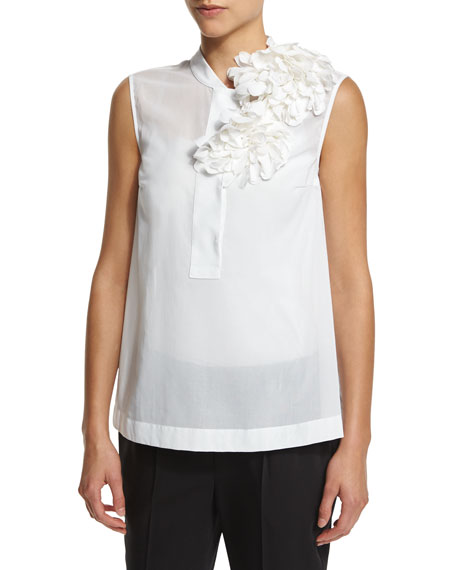 Brunello Cucinelli Sleeveless Floral-Embellished Blouse, White