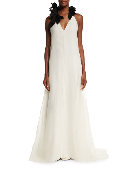 Embellished V-Neck A-Line Gown, Vanilla/Black