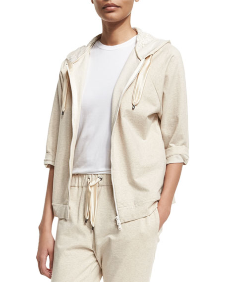 Brunello Cucinelli Zip-Front Hooded Spa Jacket, Butter