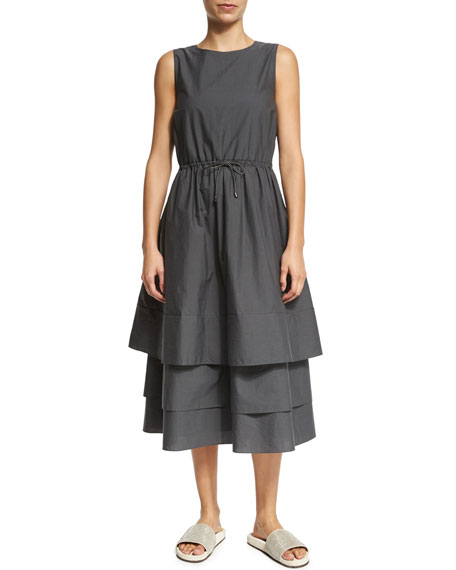 Brunello Cucinelli Sleeveless Tiered-Skirt Dress, Smoke