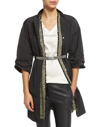 Brunello Cucinelli Snap-Front Jacket W/Monili Belt, Graphite