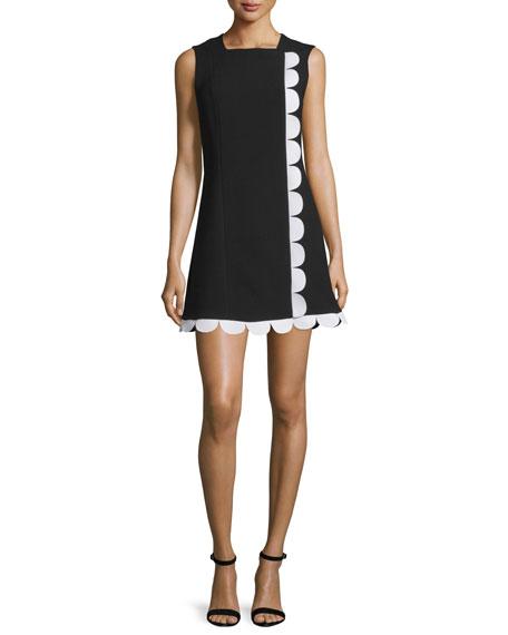 Victoria Victoria Beckham Sleeveless Contrast-Trim Dress, Black/White