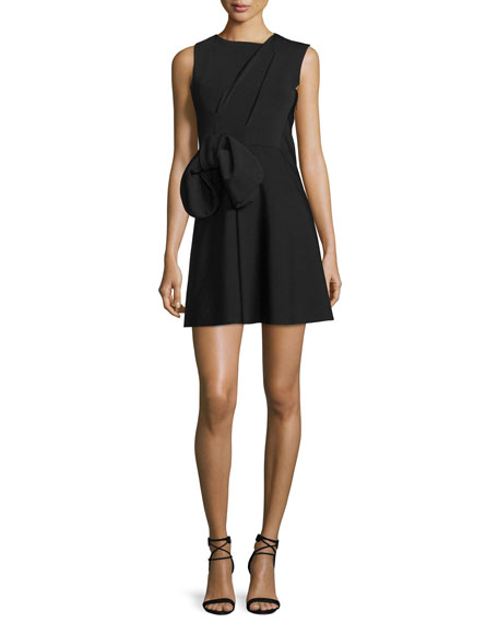 Victoria Victoria Beckham Sleeveless Waist-Bow Mini Dress, Black