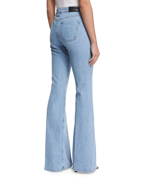 High waisted flared leg jeans