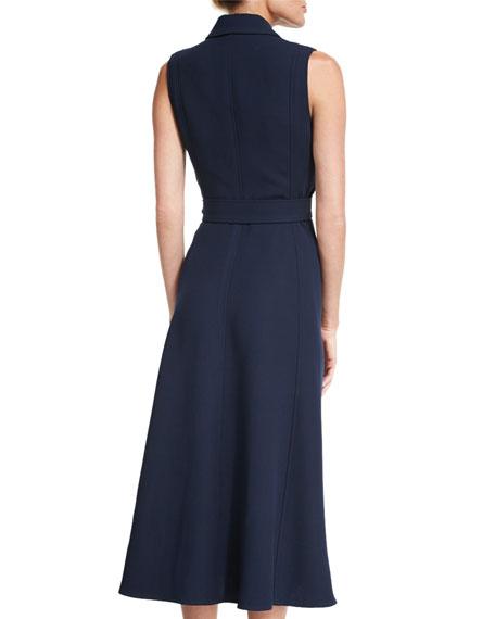 Sleeveless Belted Gilet Dress, Dusk