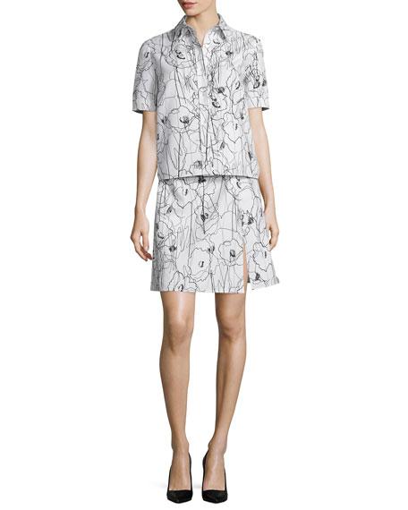Jason Wu Short-Sleeve Scribble-Print Shirtdress, Chalk/Black