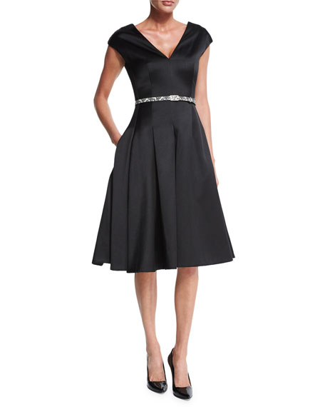 Jason Wu Cap-Sleeve Belted Flounce Dress, Black