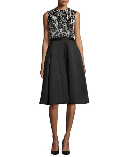 Scribble-Print A-Line Combo Dress, Chalk/Black
