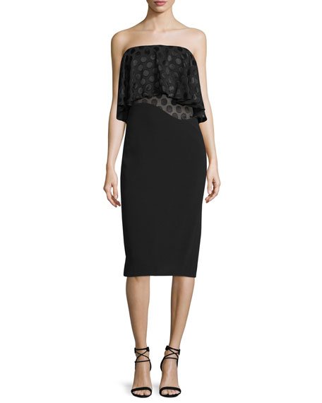 Cushnie Et Ochs Strapless Dot-Print Ruffle Dress, Black